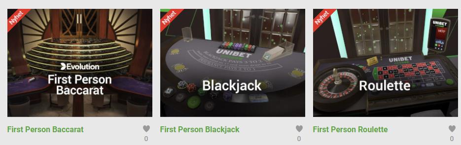 First Person Black Jack - Nytt casinospel hos Unibet